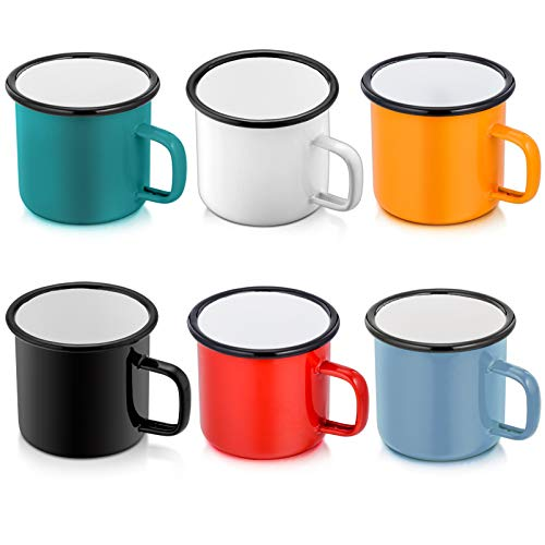 Enamel Camping Coffee Mug Set of 6, P&P CHEF Small Colored Mugs Cups for Family Gathering/Friend Party/ Camping /Picnic/ Fishing, Lightweight & Portable -12 Ounce (350ML)