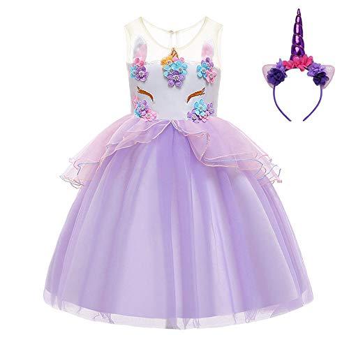 FONLAM Prinzessin Einhorn Kleid für Mädchen Blumen Kleid Geburtstage Party Karneval Mädchen (Lila, 3 Jahre)