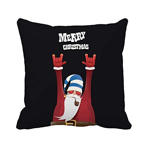 N\A Throw Pillow Cover Rock Roll Santa Claus Fumar Pipa Barba Funda de Almohada Funda de Almohada Cuadrada Decorativa para el hogar Funda de cojín