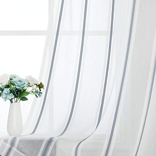 West Lake Pinstripes Sheer Curtain Drapes White and Blue Stripe Pattern Heavy Semi Sheer Window Treatment Sets Grommets Top for Bedroom, Living Room, 52''x84'', 2 Panels