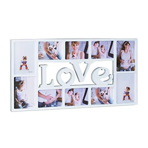 Relaxdays Bilderrahmen Collage LOVE, Fotorahmen 10 Bilder, Wandgalerie für Fotocollagen, HBT: 36,5 x 72 x 2 cm, weiß