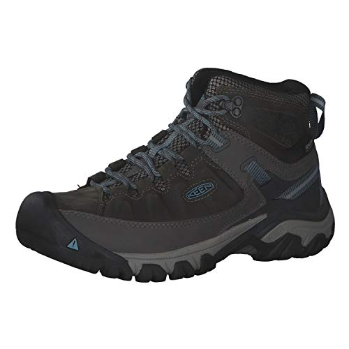 KEEN Women's Targhee 3 Mid Waterproof Hiking Boot, Magnet/Atlantic Blue, 10 M (Medium) US