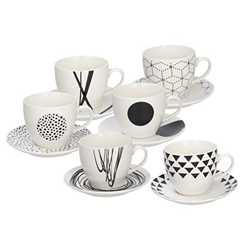 Tognana ME685025529 Confezione 6 Tazze The con Piatto, New Bone China