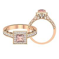 ミルグレイン結婚指輪 1.21 CT 宝石リング HI-SIダイヤモンド 5mm 人工モルガナイトプリンセスカットダイヤモンドリングソリテールエンゲージメントハローリング, 14K ローズゴールド, Size: 13