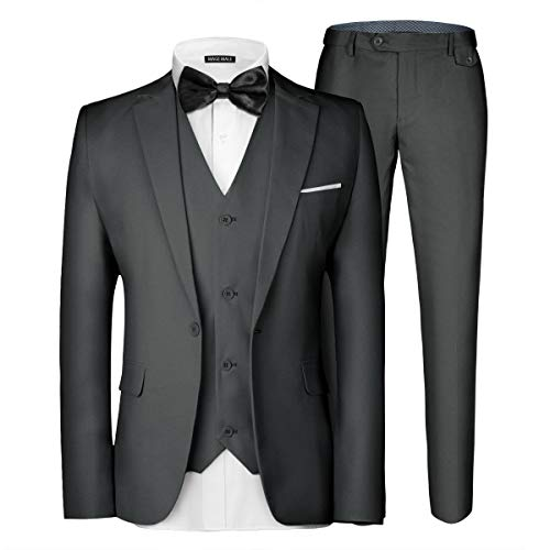 WULFUL Men's Suit Slim Fit One Button 3-Piece Suit Blazer Dress Business Wedding Party Jacket Vest & Pants Black