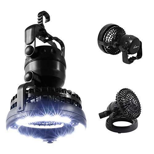 HAITRAL Lámpara de camping LED, funciona con pilas, 2 en 1, lámpara de camping con ventilador, linterna de camping para camping, aventura, pesca, emergencia, corte de energía, color negro