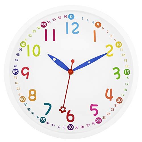 Foxtop Moderno Orologio da Parete Bambini Silenzioso con Colorato Design 30 cm (Bianco)