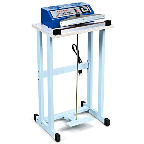 "Goplus 110V 12"" Foot Pedal Impulse Sealer with Cutter, Heat Seal Closer Plastic Bag Sealing Machine, Cutting Machine, Ideal for Industrial and Commercial Use"