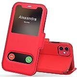 FYY iPhone 11 Handyhülle,iPhone 11 Hülle 2019,Premium PU Lederhülle Flip Leder Handytasche mit [View-Fenster]& Magnetverschluss für Apple iPhone 11 6.1'' Tasche,Rot