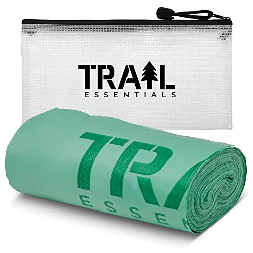 Trail Essentials Toilet Bags, Certified Biodegradable and Compostable, 25 Count; Use and Bury in Ground, Includes Convenient Water Resistant Carry Case