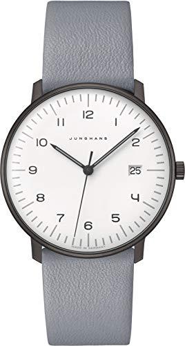 Junghans max Bill Armbanduhr Quarz mit hellgrauem Lederband 041/4064.04