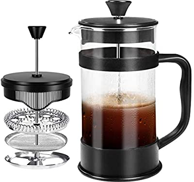 KICHLY French Coffee Press (32 Oz/1000 ml) - Espresso and Tea Maker with Triple Filters, Stainless Steel Plunger and Heat Resistant Borosilicate Glass Rust-Free