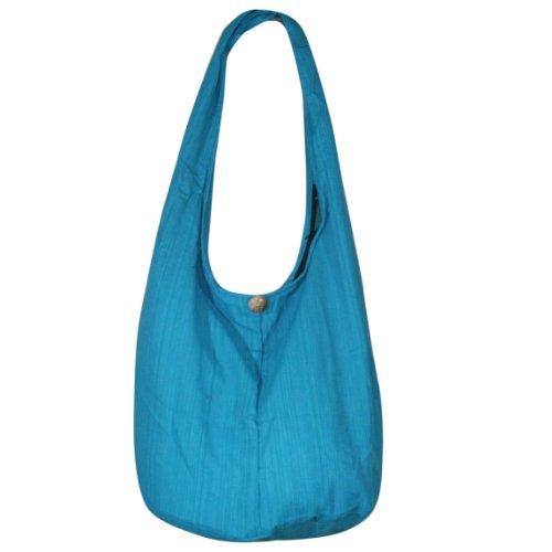 Hippie Hobo Sling Crossbody Bag Messenger Purse Handwoven Cotton Color Turquoise LL011