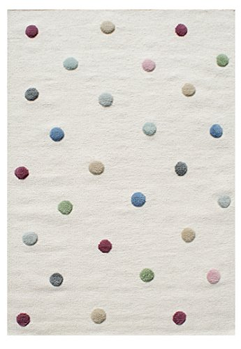 Livone Hochwertiger Jugendteppich aus Wolle Kinderzimmer Kinderteppich in Natur mit Punkten in rot blau grün Mint grau rosa Größe 100 x 160 cm inklusive Anti-Rutschunterlage