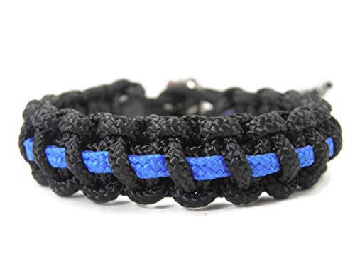 HanseCharms Paracord Typ II Armband-Thin Blue Line-Polizei-Männer, Frauen, Kinder Armband-Verstellbar, 1,5 cm breit (M = 16-20 cm)