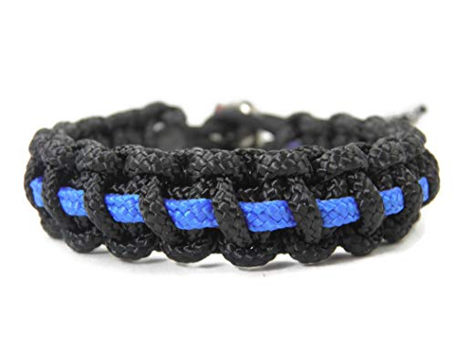 HanseCharms Paracord Typ II Armband-Thin Blue Line-Polizei-Männer, Frauen, Kinder Armband-Verstellbar, 1,5 cm breit (L = 19-24 cm)