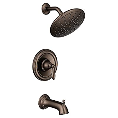 Moen T2253EPORB Brantford Posi-Temp Tub and Shower Trim Kit, Valve Required, including 8-Inch Eco-Performance Rainshower, Oil Rubbed Bronze