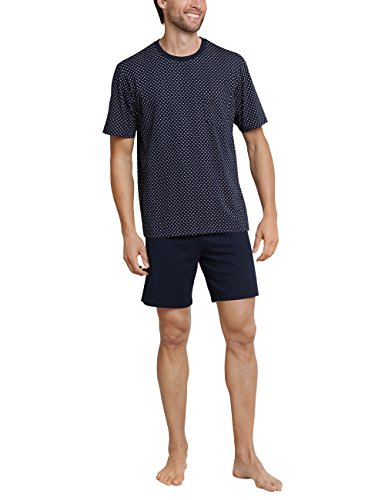 Schiesser Herren Comfort Fit Schlafanzug Kurz Pyjamaset, Blau (Dunkelblau 803), 54