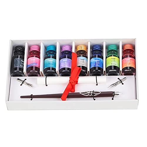 Pluma de inmersión, cómoda para sujetar cajas de regalo exquisitas, juego de soportes para bolígrafos de tinta de color, más suave con 2 puntas de bolígrafo reemplazables para dibujar arte