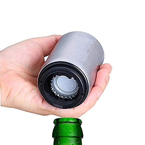 Destapador de cerveza, abridor de botellas automático de acero inoxidable con imán para las corcholatas, ideal en hogar, bar o restaurante con diseño vanguardista y calidad premium