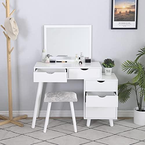 Coiffeuse avec Miroir rectangulaire, Table de Maquillage, avec 5 tiroirs et 1Compartiments de Rangement, Style Moderne (Blanc, 80x40x125cm)