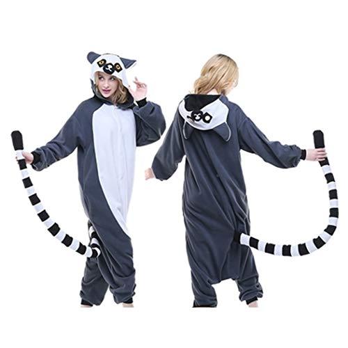 HQ-PJS Mujeres/Pijama de una Pieza Fleece con Capucha Todo el Partido Anual Animal de la Historieta En Un Mono Pijamas Suelta Otoño Fiesta Eficiencia Outfit (Color : Lemur, Size : XL)