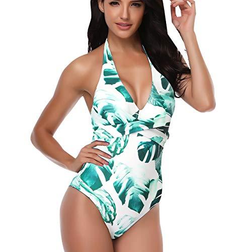 Neckholder Badeanzug Monokini Damen Einteiler Rückenfrei Push Up Blumen Bademode Frauen Bikini Schwimmanzug V Ausschnitt Große Größen Schlankstütz Bauchweg Badeanzüge Figurformend Für Mollige Weiß M