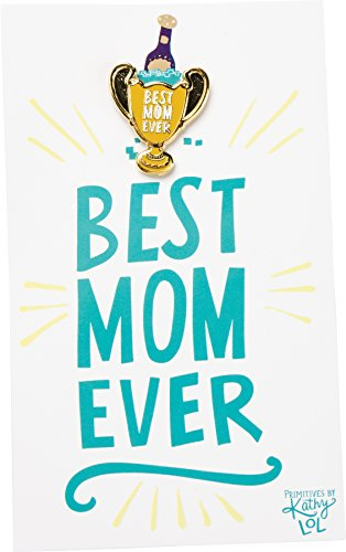 Enamel Pin and Card for Lapel, Backpack, Purse, Lanyard, Jacket (Best Mom Trophy)