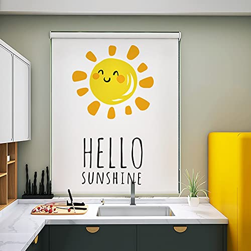 Estor Enrollable Persianas Enrollables Blancas Impermeables para Cocina Baño Ventanas, Patrón de Letras Blackout Sun & Hello Sunshine, 60/90/100/120/140/150cm de Ancho (Size : 60×150cm/23.6×59in)