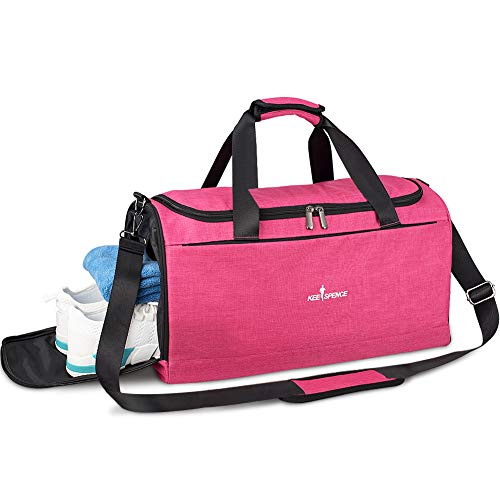 Gym Duffle Bag, with Shoe Compartment and Wet Pocket for Men Swim Sports Travel Gym Bag, 19.3 inch (Shock pink)