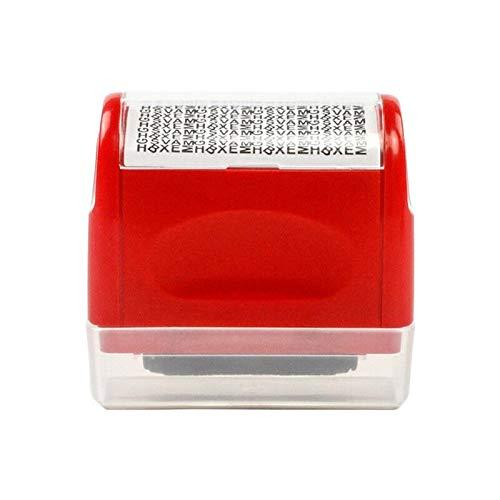 Tashido Sello de prevención del robo de identidad, sello de seguridad giratorio de 6 x 6 x 3 cm (rojo)