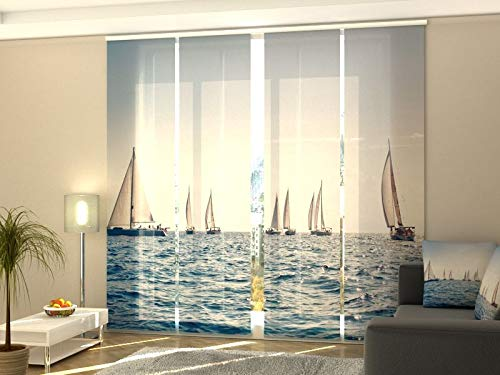 Wellmira Fotogardine, Flächenvorhang, Fotodruck, Schiebevorhang, Bedruckte Schiebegardinen, Gardine mit Motiv, auf Maß (4 x 245x50)