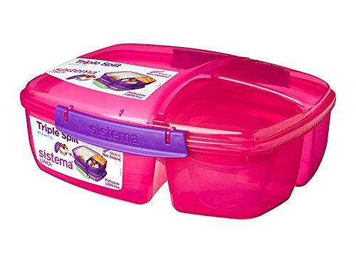 Sistema - Caja de Almuerzo Triple, con Recipiente para Yogur, 2 L, plástico, Rosa/Morado, 24.5 x 20 x 9.1999999999999993 cm