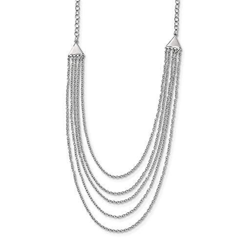 Halskette aus 925er-Sterlingsilber, rhodiniert, mehrsträngige Halskette, Schmuck, Geschenke für Frauen, 46 cm