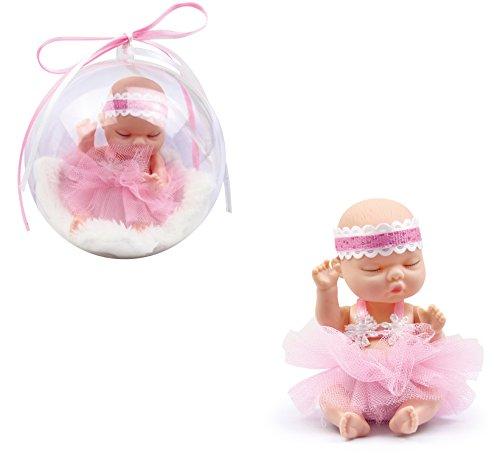 Brigamo ❀ Doll Surprise,süße Mini Baby Puppe mit Flauschiger Felldecke in der Deko Kugel (rosa)