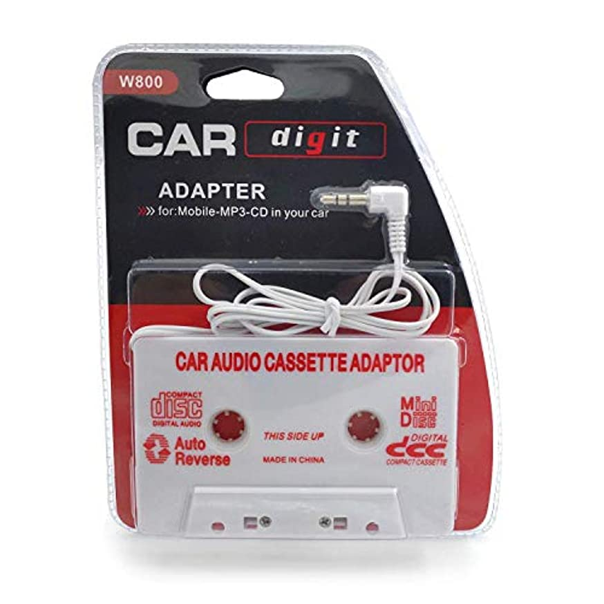 Travel Cassette Adapter for Cars - Listen to iPods, Smartphones, MP3 Players or a Walkman in a Standard Vehicle Cassette Player - Vintage/Retro Music Converter