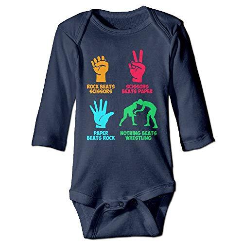 WBinHua T-Shirts für Baby-Jungen,Bertha Rock Paper Nothing Beats Wrestling Baby Boys Girls Long Sleeve Onesies Bodysuits