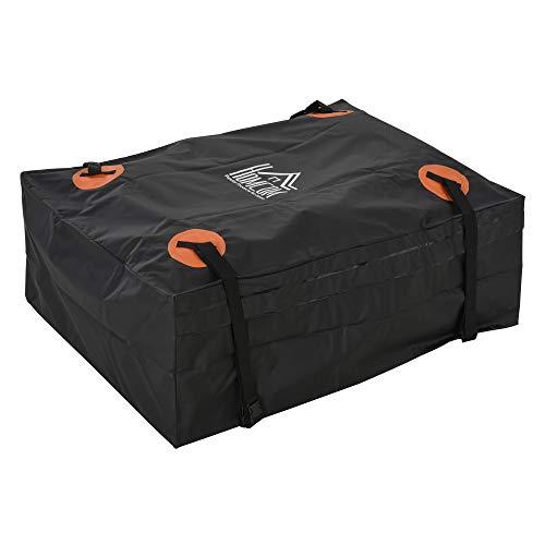 Homcom Sac de Toit Voiture pour Voyage Coffre de Toit Voiture Souple 566L Polyester PVC Indice étanchéité 5000+ Noir Orange