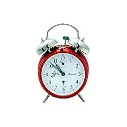 Sternreiter Double-Bell Mechanical Alarm Clock, Ruby Red MM 111 602 33
