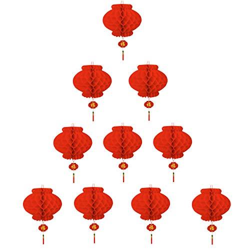 TAO Lanterne Rouge Décoration Nouvel an Chinois Déco Restaurant Fête Lot de 10 (20 cm)