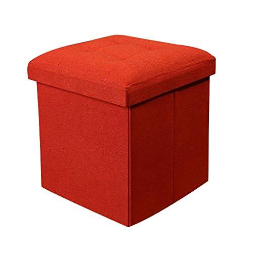 QFdd Acolchado Grueso Otomano De Almacenamiento De Sofá Cubo Tela De Lino Plegable Tapizado con Tapa Hogar Oficina Cofres De Organización Caja 38 * 38 * 38