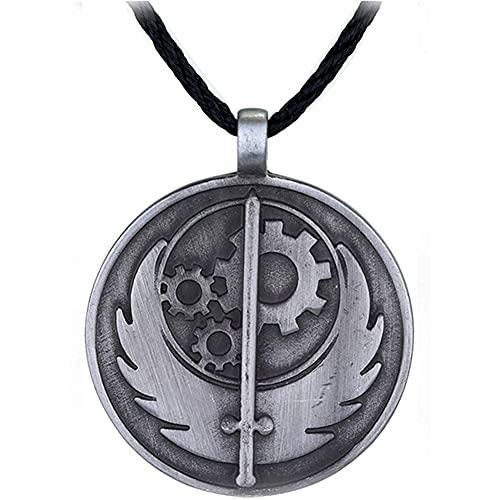 gujiu Juego Fallout Collar Hermandad de Steel Logo Redondo Metal Colgante Cadena de Cuerda