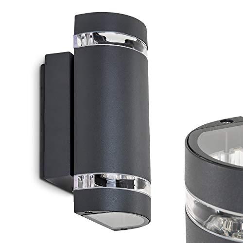 Außenwandleuchte Focus, Wandlampe aus Metall in dunkelgrau mit Kunststoff-Scheiben, Wandleuchte m. GU10-Fassung, max. 35 Watt, Außenleuchte mit Up & Down-Effekt, geeignet für LED Leuchtmittel