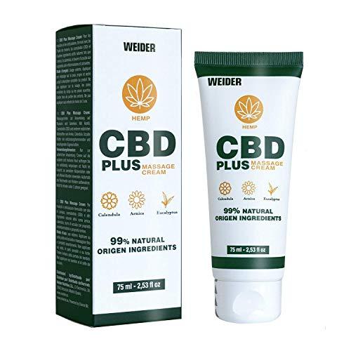 Weider Nutrition Crema Antiinflamatoria 75 ml con CBD, Calendula, Arnica y Eucalipto. Ideal crema de masaje antes y después del ejercicio físico