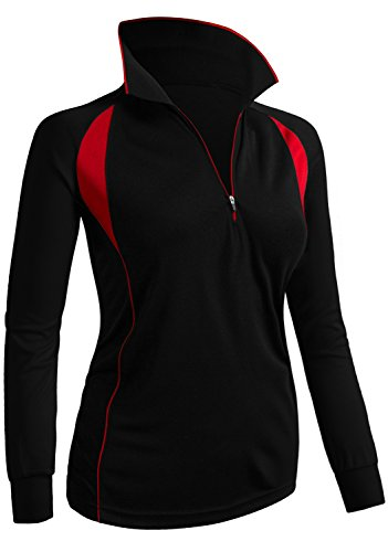 CLOVERY Functional Fabric Wicking Material Clothing Long Sleeve Zipup POLO Shirt BLACK US S/Tag S
