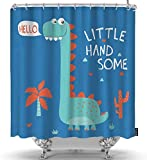 Niedliche Dinosaurier-Duschvorhang-Set mit Tippfehler- & Grunge-Textur Kleine hübsche grün-Blaue Duschvorhänge Home Decorative wasserdichte Polyester-Stoffhaken