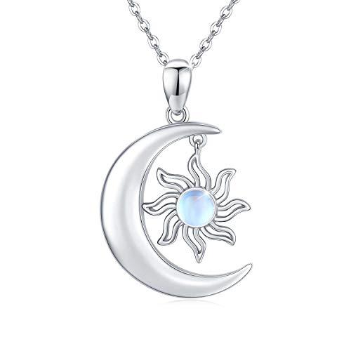 Collar de piedra lunar con colgante de luna y piedra lunar de plata de ley con colgante de luna y sol, joyería de regalo para mujeres, hombres, adolescentes y niños