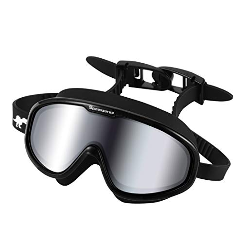Swim Goggles For Women & Men – Fashionable UV Swimming Goggles With Comfortable Water-Proof Seal & Easy Adjustable Fit | Anti Fog Lap Swimming Goggles For Youth, Or Adult | FREE Satchel (black)