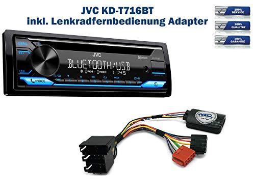 Autoradio JVC KD-T716BT geeignet für Nissan Micra | Note inkl. Lenkrad Fernbedienung Adapter