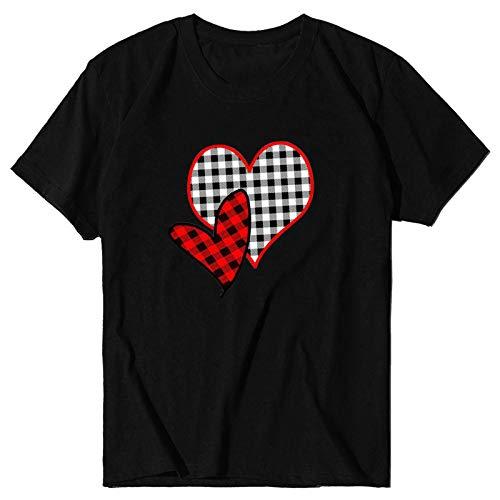 WELCO 2021 - Camiseta de manga corta para mujer de San Valentn, talla grande Noir4 XXX-Large
